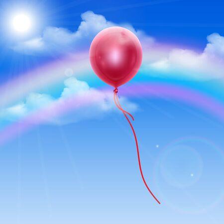 Hemelachtergrond met rode ballon, bewerkbare illustratie in realistische stijl, Vector EPS 10