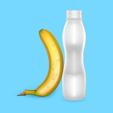 3D White Yogurt Plastic Bottle, Realistic Bottle with banana drinking yogurt, Vector illustration 向量圖像