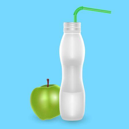 3D White Yogurt Plastic Bottle, Realistic Bottle with apple drinking yogurt, Vector illustration