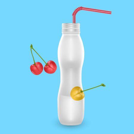 3D White Yogurt Plastic Bottle, Realistic Bottle with cherry drinking yogurt, Vector illustration