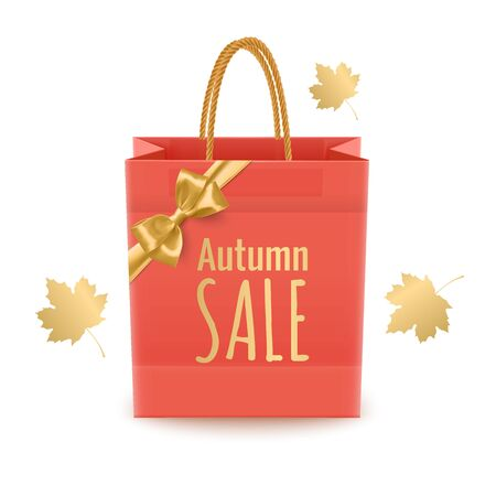 Shopping paper bag with text and fallen leaves behind isolated on white background, Realistic illustration For seasonal sales and discount promotions
