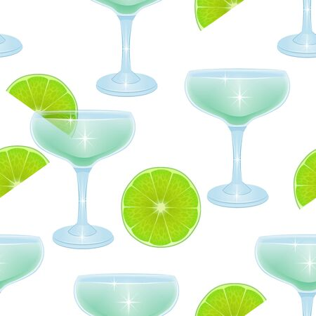 Seamless Endless Pattern on white background, pattern with Alcoholic cocktails and lemon slices, Can be used in food industry for wallpapers, posters, wrapping paper.