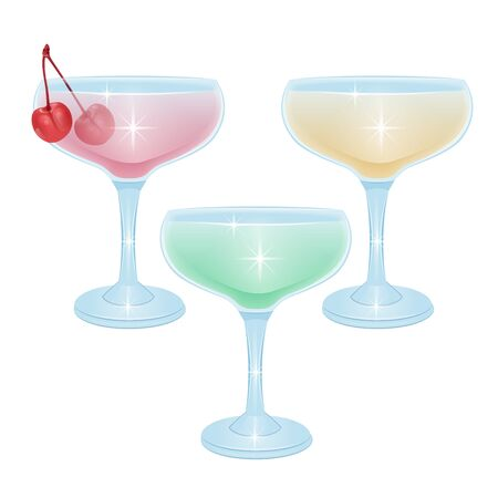 alcoholic cocktail beverage vector set collection on white background
