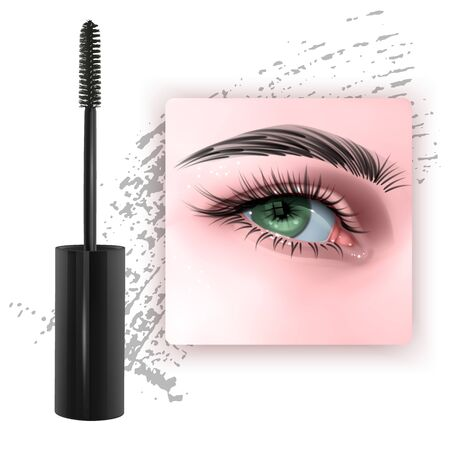 Mascara design picture, with single Green eye and eyelash for advertising use, Realistic 3d illustration, Vector EPS 10