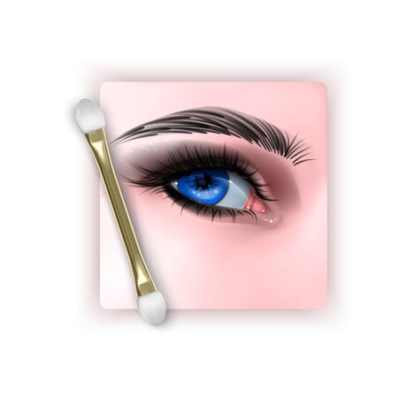 Illustration with realistic Blue eye and Smokey eyes makeup, 3D Vector illustration