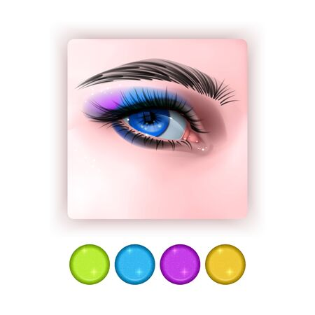 Bright Eye shadow icon in realistic style, Realistic eyes with bright Eye shadows on white background