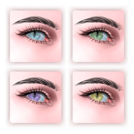 Set of Human eye with reptile pupil, illustration in realistic style