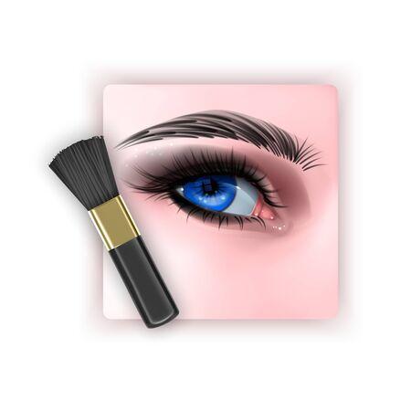 Brush to blend eye shadow, a makeup brush in a realistic style, vector EPS 10 format Vektoros illusztráció