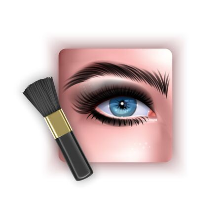 Brush to blend eye shadow, a makeup brush in a realistic style, vector EPS 10 format Illustration