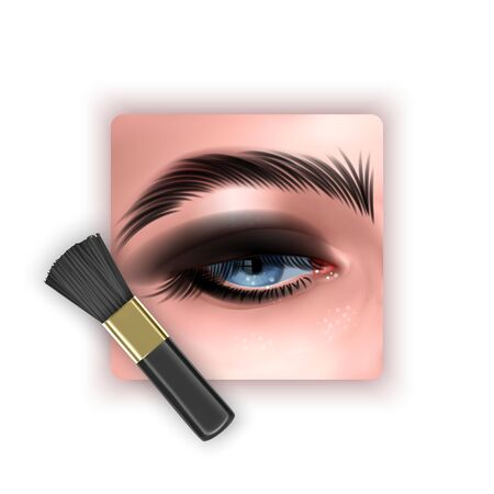 Brush to blend eye shadow, a makeup brush in a realistic style, vector EPS 10 format Illusztráció
