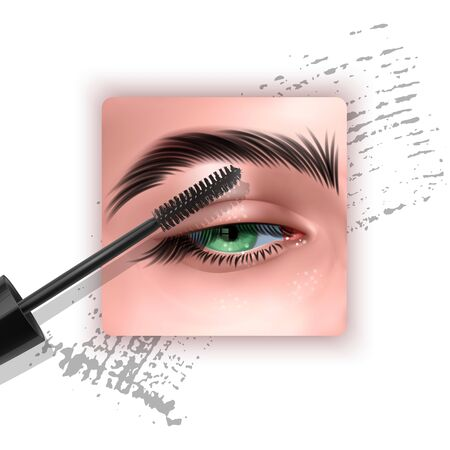 Mascara design picture, with single Blue eye and eyelash for advertising use, Realistic 3d illustration, Vector EPS 10