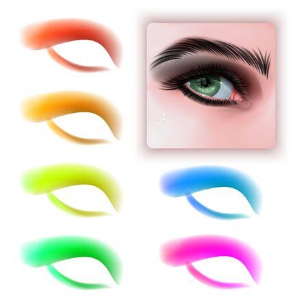 Frauenaugen mit verschiedenen Make-up-Lidschattenfarben. Set aus bunten Lidschatten und realistischen Augen auf weißem Hintergrund, Vektor-EPS 10-Format Vektorgrafik