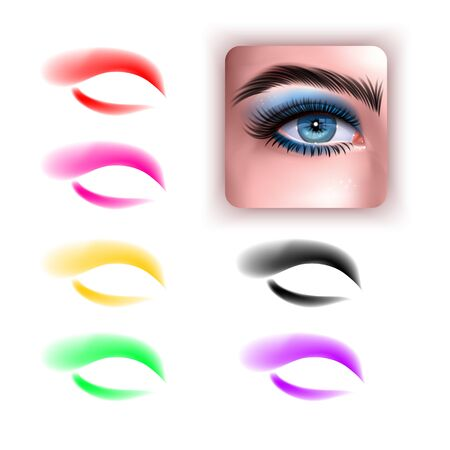 Females eyes with different makeup eyeshadow colors. Set of colorful eyeshadows and realistic eye on white background, Vector EPS 10 format