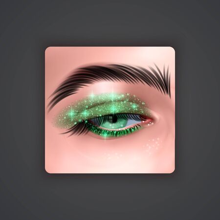 Realistic eyes with bright Eye shadows of Green color with glittering texture on dark background