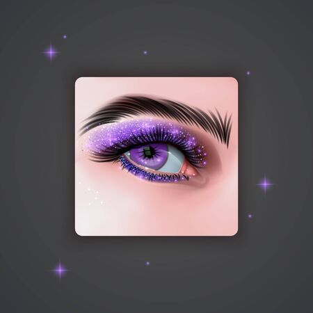 Realistic eyes with bright Eye shadows of Purple color with glittering texture on dark background