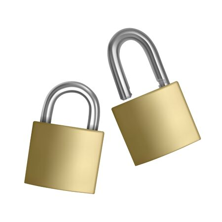 Two realistic icons golden padlock in the open and closed position, isolated on white background Vektoros illusztráció