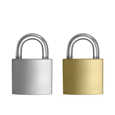 Two realistic icons Silver and Golden padlock in the closed position, isolated on white background, Vector illustration Illusztráció