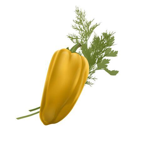 Vegetal de pimiento amarillo fresco aislado sobre fondo blanco. pimienta para el mercado agrícola, formato vectorial EPS 10, ilustración en estilo realista Ilustración de vector
