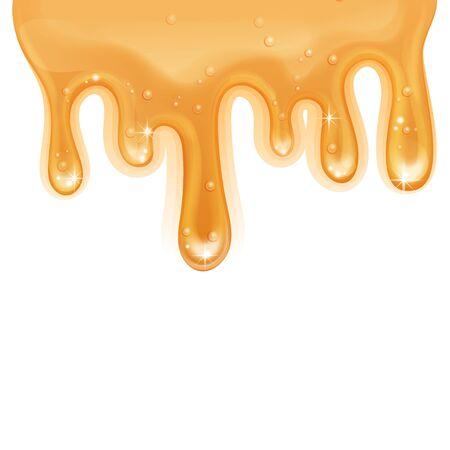 Flowing honey texture on white background, Realistic Vector illustration Ilustración de vector