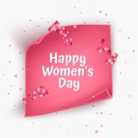 Greeting card for Women's day with pink Twisted paper. For advertising, Invitation card with place for text, Vector illustration