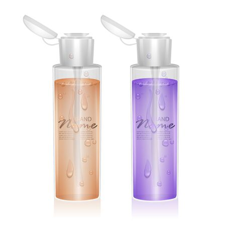Set of Bottles for micellar water, with fluid of orange and purple colors, can be used like design for catalog or magazine. Cosmetic package Ilustração