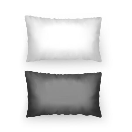 Set of Realistic pillows of black and white colors template for your patterns or design, Vector EPS 10 format