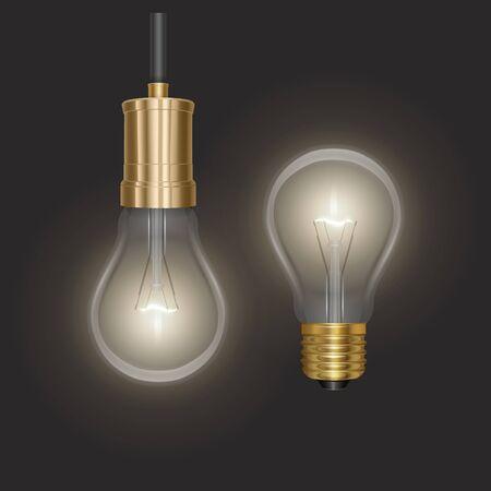 Fondo de bombilla incandescente realista con lámpara de extremo de lente luminosa colgando de un cable sobre fondo oscuro Ilustración de vector