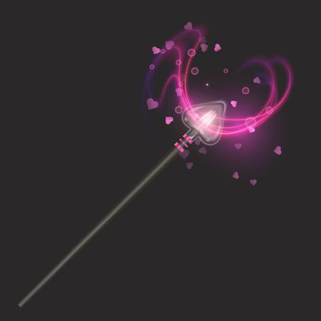 Magic wand on dark background, beautiful light effects with magical sparkle glittering texture, Vector EPS 10 format
