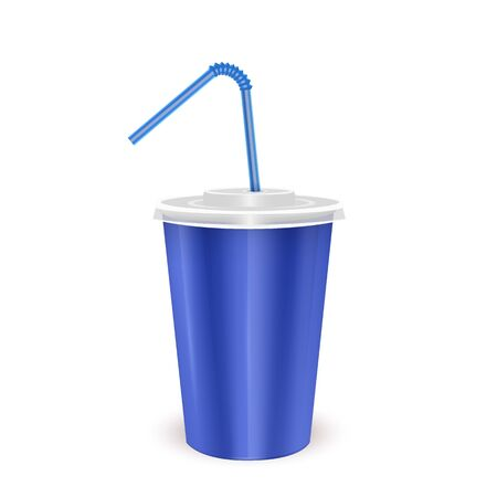 Blue paper disposable cup with lid and drinking straw for cold beverage -soda, ice tea or cocktail, Realistic packaging mockup template, Vector illustration