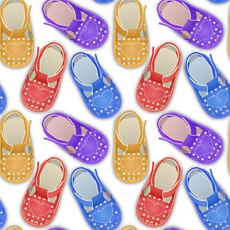 Seamless endless pattern with children's shoes, can be used as a pattern for girls clothes Stock Illustratie