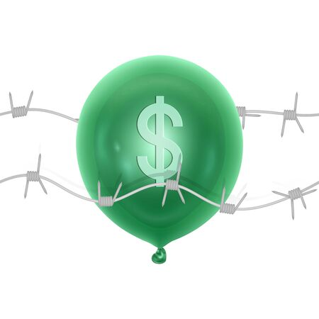Symbol of the fall of the dollar, pricking or bursting dollar balloon with a needle, Vector illustration
