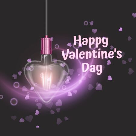 Greeting card with a heart-shaped glowing lamp on dark background. Design element for Happy Valentine's Day. Template Ready for your design, greeting card, banner, Vector EPS 10 format