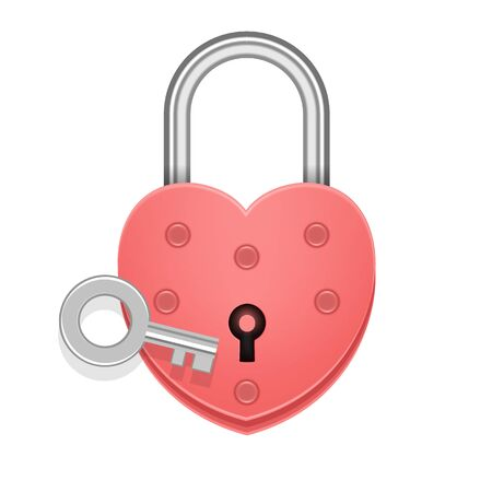 Heart shaped padlock with key. Valentines day love concept. 3D Vector Illustration