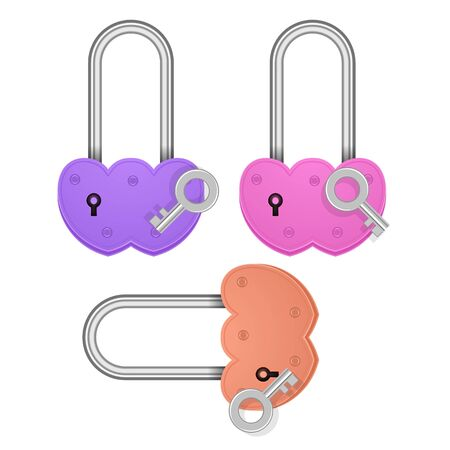 Set of Heart shaped padlocks. Valentines day love concept. 3D Vector Illustration 矢量图像