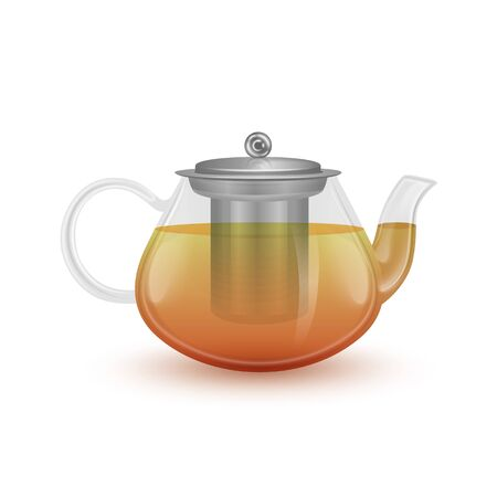 The glass teapot with black tea. Realistic vector EPS 10 illustration on white background
