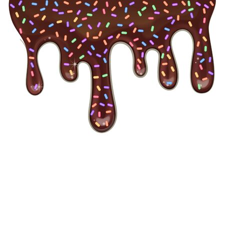 Melted black chocolate flowing, drips on white background, vector illustration