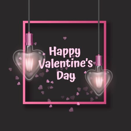 Valentine's day greeting card decorated with heart shaped light bulbs, greeting card, realistic vector EPS 10 format Vettoriali
