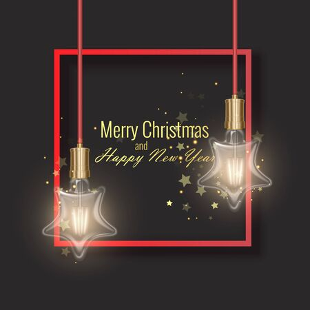 Christmas and happy new year greeting card decorated with Star shaped light bulbs, greeting card, realistic vector illustration Vectores