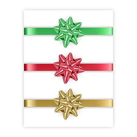 Set of bows of red, green and golden colors isolated on white background, illustration in realistic style, vector eps 10 format