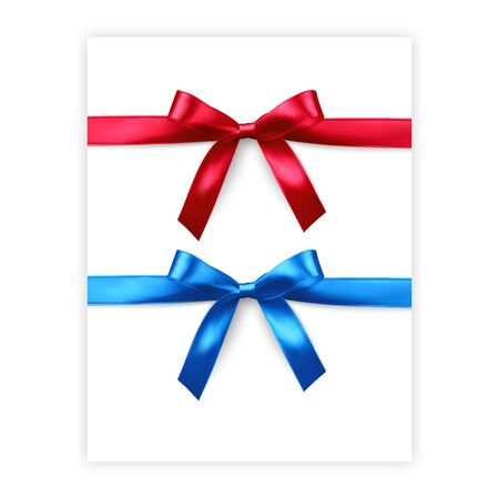 Set of bows of red and blue colors isolated on white background, vector made from silk, illustration in realistic style