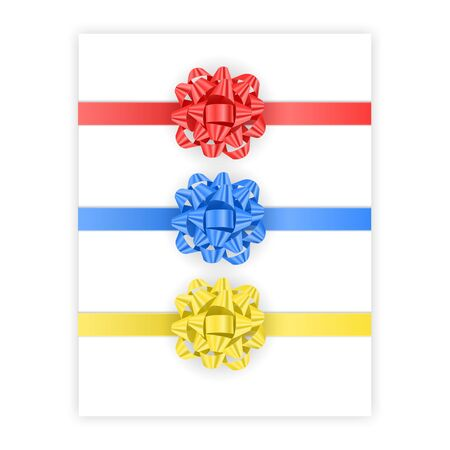 Set of bows of red, blue and yellow colors isolated on white background, vector illustration in realistic style
