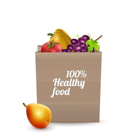 Supermarket. Paper bag full of healthy food isolated on white background, realistic illustration vector Eps 10 format