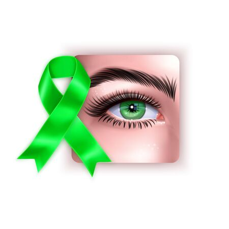 Illustration Of World Glaucoma Day Background with realistic eye and Green ribbon isolated on white background, vector eps 10 illustration