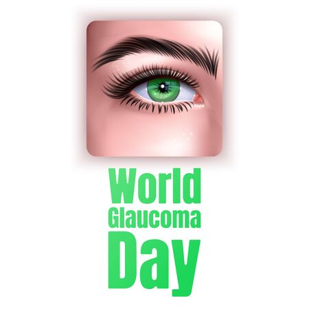 Illustration Of World Glaucoma Day Background with realistic eye isolated on white background