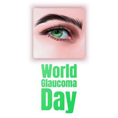 Illustration Of World Glaucoma Day Background with realistic eye isolated on white background