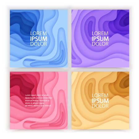 Paper cut background set with 3D slime abstract background of blue, purple colorful waves layers. Abstract layout design for brochure, flyer or greeting cards. Paper art, vector eps 10 format