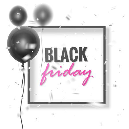 Black Friday sale banner with Realistic black balloons with silk ribbons on blurred balloons backdrop. Vector illustration Standard-Bild - 138472134