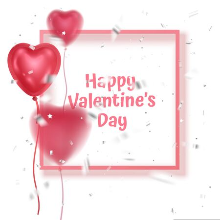 Happy valentines day banner with Realistic heart shape balloons with silk ribbons on blurred balloons backdrop. Vector illustration