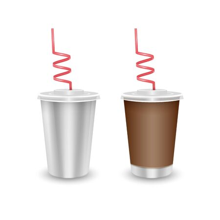 White paper Cup with a brown cover with label and without label, paper disposable cup with lid and drinking straw for cold beverage -soda, ice tea or cocktail, Realistic packaging mockup template Ilustração