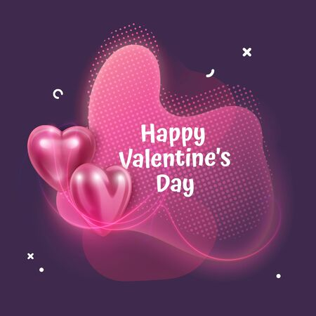 Valentines day greeting card with Abstract liquid shape with neon light effects and 3d pink Hearts, Greeting Card, Banner. Vector eps 10 format Standard-Bild - 139697291